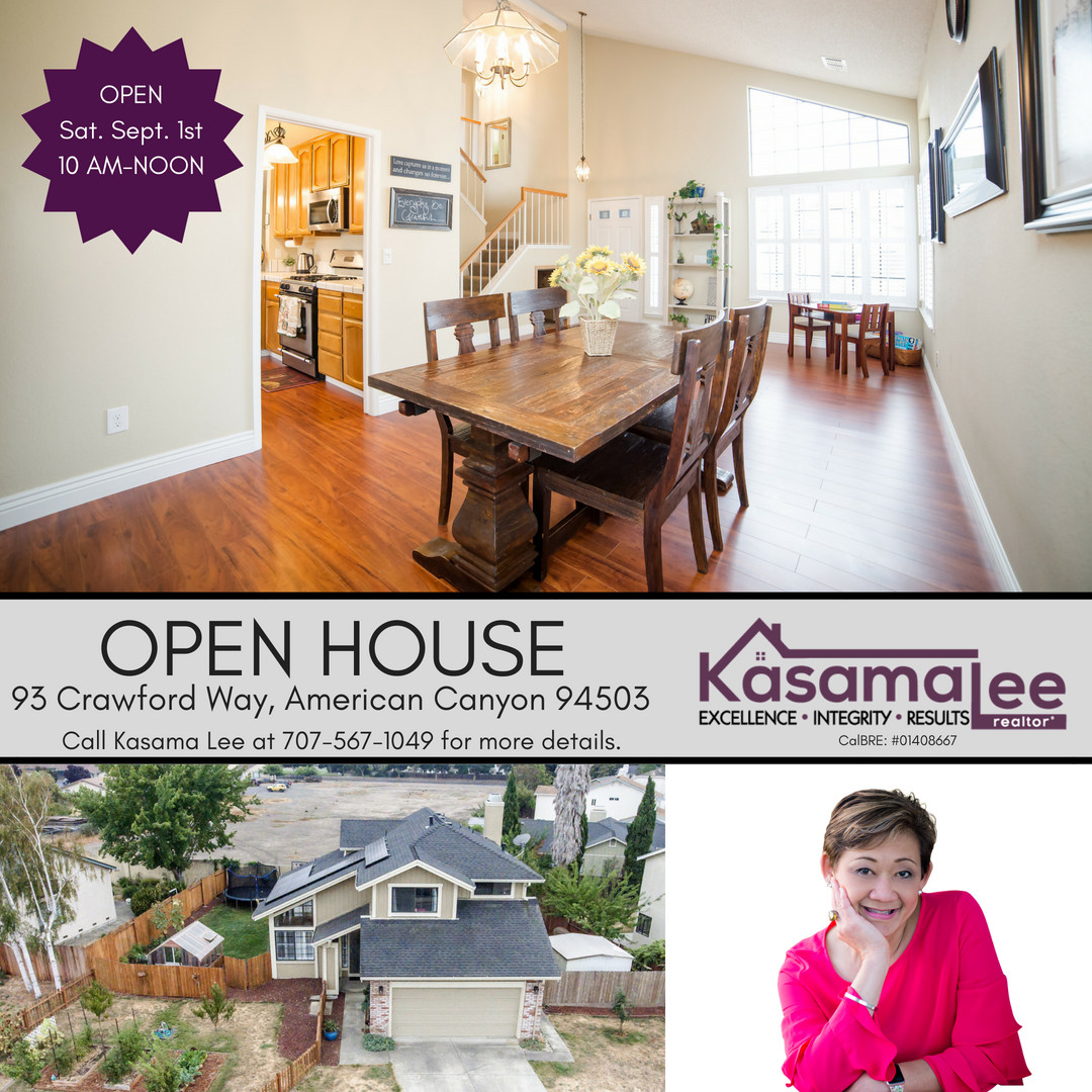 Open House this weekend!  93 Crawford Way, American Canyon, CA 94503