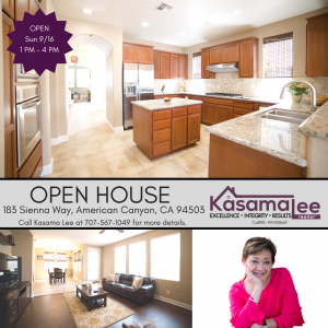 Open House this weekend!  183 Sienna Way, American Canyon, CA 94503